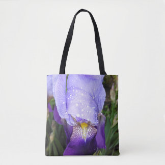 German Iris With Some Raindrops Tote Bag