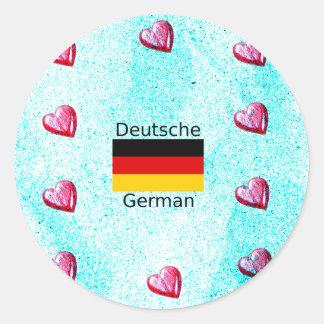 German Language And Flag Design Classic Round Sticker