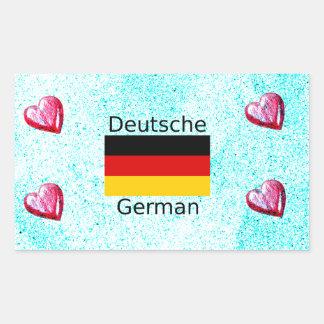 German Language And Flag Design Rectangular Sticker