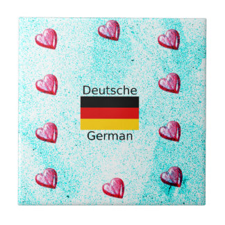German Language And Flag Design Tile