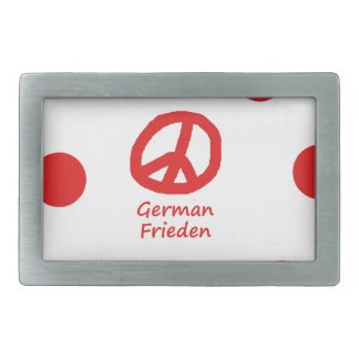 German Language And Peace Symbol Design Rectangular Belt Buckle