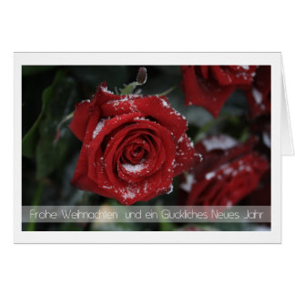 german Merry Christmas-Happy New Year snowy red ro Greeting Card