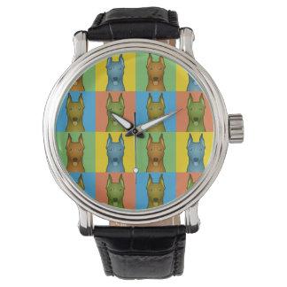 German Pinscher Dog Cartoon Pop-Art Wrist Watch