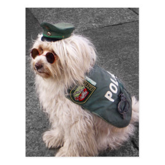 German Police Dog with Handcuffs Postcard
