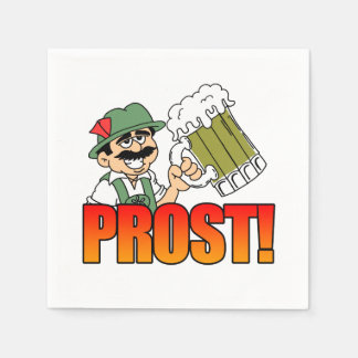 German Prost Party Napkins Cartoon Bier Disposable Serviette