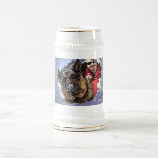 German Shepard Search and Rescue in the Snow Beer Stein