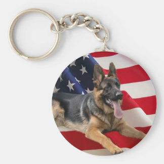 German Shepherd America Keychain