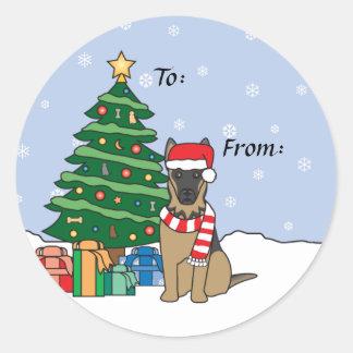 German Shepherd and Christmas Tree Classic Round Sticker