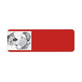 German Shepherd and Santa Claus Christmas Return Address Label