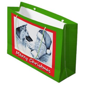 German Shepherd and Santa Claus for Christmas Large Gift Bag