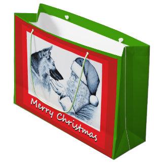 German Shepherd and Santa Claus Large Gift Bag