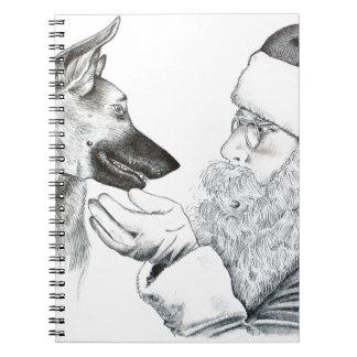 German Shepherd and Santa Spiral Notebook