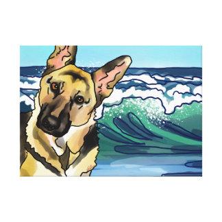 German Shepherd at Beach Canvas Print