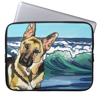 German Shepherd at Beach Laptop Sleeve