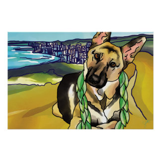 German Shepherd at Top of Diamond Head, Hawaii Poster