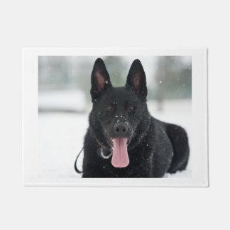 german shepherd black in snow doormat