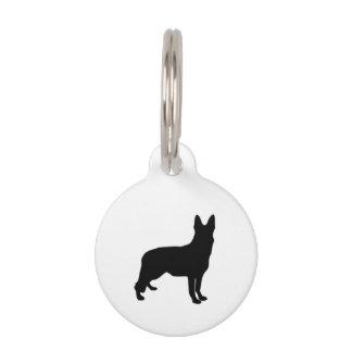 German Shepherd Black Silhouettes on White/Colours Pet Name Tag
