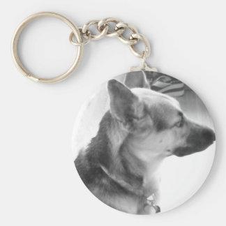 German Shepherd/black & White Photo Basic Round Button Key Ring