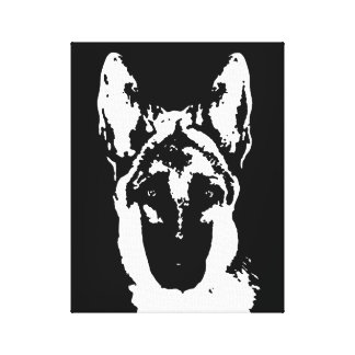 German Shepherd Black & White Wrapped Canvas Print