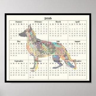 German Shepherd Calendar 2016 - Poster