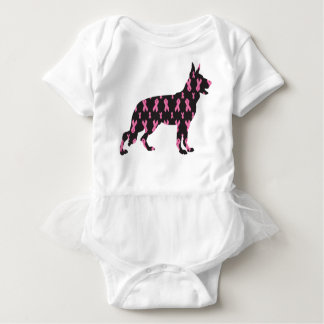 German-Shepherd-Cancer-Ribbon-Black Baby Bodysuit