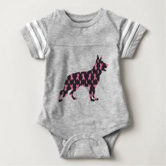 German-Shepherd-Cancer-Ribbon-Black Baby Bodysuit