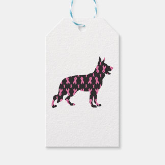 German-Shepherd-Cancer-Ribbon-Black Gift Tags