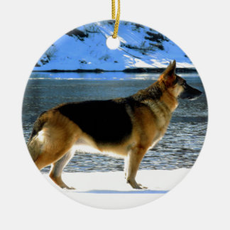 German Shepherd Ceramic Ornament