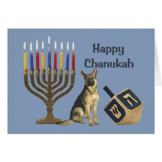 German Shepherd Chanukah Card Menorah Dreidel1