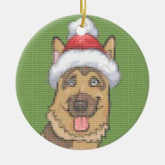 German Shepherd Christmas Knit Pattern Ceramic Ornament