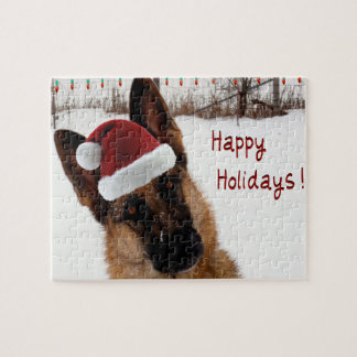 German Shepherd Christmas Photo Jigsaw Puzzle