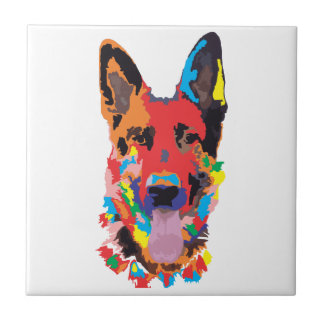 German shepherd color ceramic tile