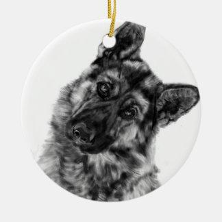 German Shepherd Curious Ceramic Ornament