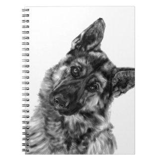 """German Shepherd """"Curious"""" Spiral Notebook"""
