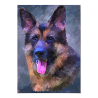 German Shepherd Dog 5x7 Mini Prints 13 Cm X 18 Cm Invitation Card