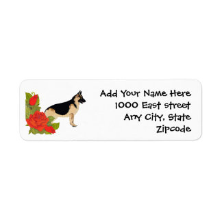 German Shepherd Dog and Red Roses Return Address Label