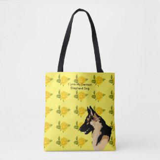 German Shepherd Dog and Yellow Roses Tote Bag
