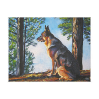 German Shepherd  Dog Art on Wrapped Canvas