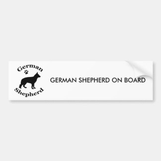 German Shepherd dog black silhouette paw print Bumper Sticker