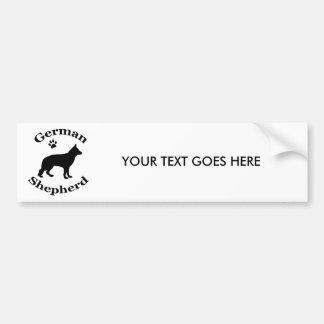 German Shepherd dog black silhouette paw print Bumper Sticker