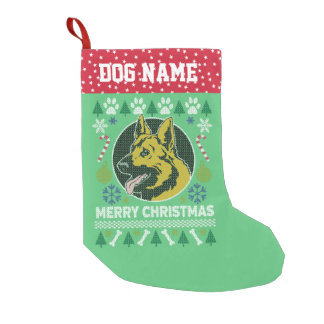 German Shepherd Dog Breed Ugly Christmas Sweater Small Christmas Stocking