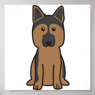 German Shepherd Dog Cartoon Poster