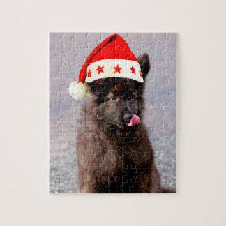 German Shepherd Dog Christmas Hat Jigsaw Puzzle