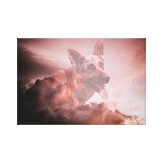 German Shepherd Dog Clouds Heaven Art Portrait GSD Canvas Print