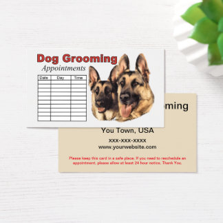 German Shepherd Dog Grooming Appointment Business Card