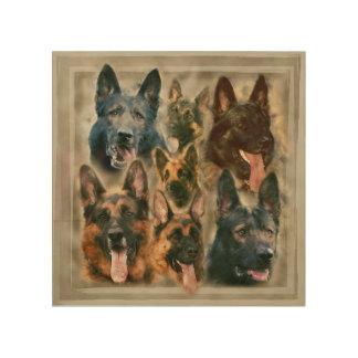 German Shepherd dog - GSD Painting collage Wood Wall Decor