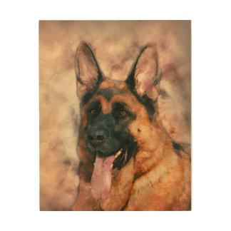 German Shepherd Dog  - GSD watercolor painting Wood Wall Art