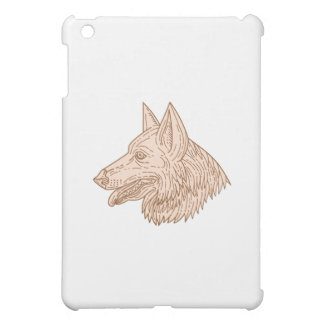 German Shepherd Dog Head Mono Line Cover For The iPad Mini
