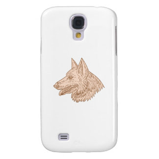 German Shepherd Dog Head Mono Line Galaxy S4 Cover
