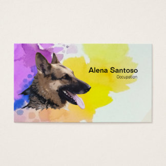 German Shepherd Dog Painting Business Card